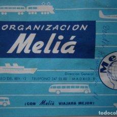 Coleccionismo Billetes de transporte: TALONARIO AGENCIA DE VIAJES MELIA TICKET BILLETES COMPLEMENTARIO DE LITERA 1968. Lote 170430344