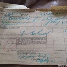Coleccionismo Billetes de transporte: TALÓN RESGUARDO PORTES MERCANCÍA FERROCARRILES LORCA A BAZA Y ÁGUILAS. RICARDO FLORES. TEJIDOS BAZA. Lote 170543117