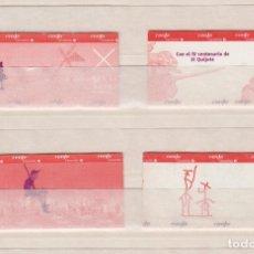 Coleccionismo Billetes de transporte: RENFE CERCANIAS MADRID - COLECCION 4 BILLETES SIN USAR DIFERENTES - 400 IV CENTENARIO EL QUIJOTE. Lote 170943050