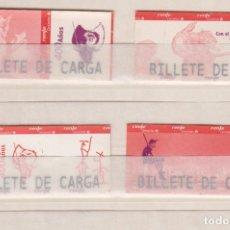 Coleccionismo Billetes de transporte: RENFE CERCANIAS MADRID - COLECCION 4 BILLETES DE CARGA DIFERENTES - 400 IV CENTENARIO EL QUIJOTE. Lote 170943150