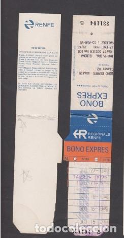 TARJETA RESISTIVA BONO EXPRESS RENFE REGIONALES (Coleccionismo - Billetes de Transporte)