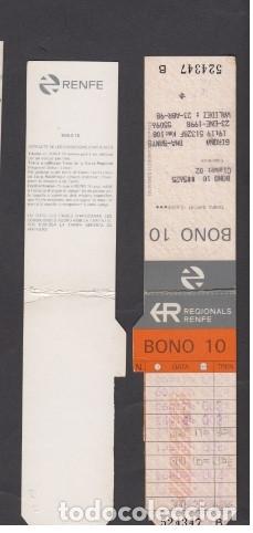 TARJETA RESISTIVA BONO 10 RENFE REGIONALES (Coleccionismo - Billetes de Transporte)