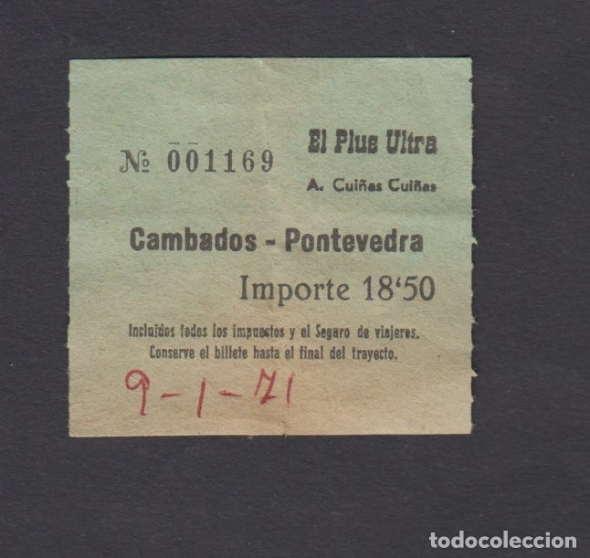 BILLETE AUTOBUSES CUIÑAS EL PLUS ULTRA CAMBADOS PONTEVEDRA (Coleccionismo - Billetes de Transporte)