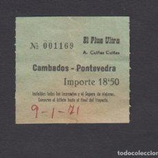 Coleccionismo Billetes de transporte: BILLETE AUTOBUSES CUIÑAS EL PLUS ULTRA CAMBADOS PONTEVEDRA. Lote 170944230