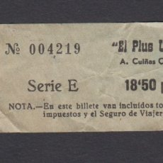 Coleccionismo Billetes de transporte: BILLETE AUTOBUSES CUIÑAS EL PLUS ULTRA PONTEVEDRA. Lote 170944240