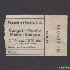Coleccionismo Billetes de transporte: BILLETE VAPORES DE PASAJES CANGAS MOAÑA MEIRA RODEIRA. Lote 170944270