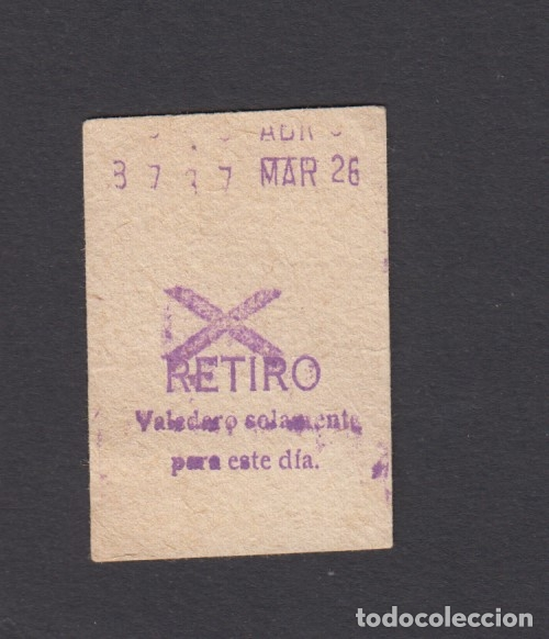 BILLETE METRO MADRID RETIRO MODELO ASPA (Coleccionismo - Billetes de Transporte)