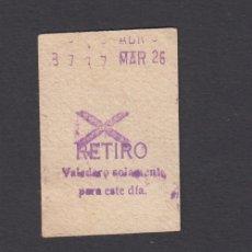 Coleccionismo Billetes de transporte: BILLETE METRO MADRID RETIRO MODELO ASPA. Lote 170944300
