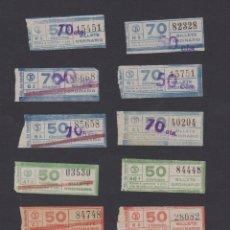 Coleccionismo Billetes de transporte: COLECCION 14 BILLETES CAPICUA TRANVIAS BARCELONA IDAS Y BARRADOS Y SOBRECARGAS VER NUMEROS. Lote 170944335