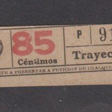 Coleccionismo Billetes de transporte: BILLETE CAPICUA 91819 85 CENTIMOS LOGO TB TRANVIAS BARCELONA. Lote 170944360