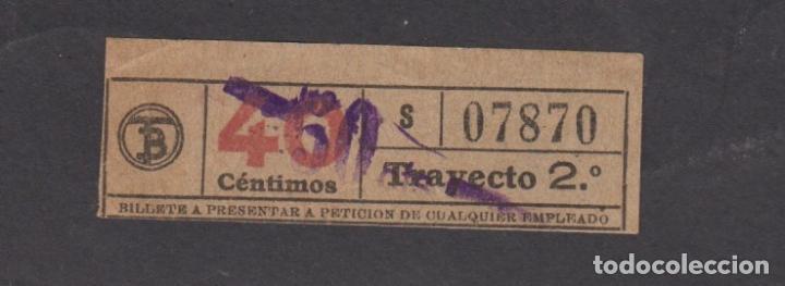 BILLETE CAPICUA 07870 40 CENTIMOS LOGO TB TRANVIAS BARCELONA SOBRECARGA 50 (Coleccionismo - Billetes de Transporte)