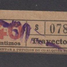 Coleccionismo Billetes de transporte: BILLETE CAPICUA 07870 40 CENTIMOS LOGO TB TRANVIAS BARCELONA SOBRECARGA 50. Lote 170944385
