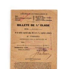 Coleccionismo Billetes de transporte: BILLETE DE 3º CLASE - COMPAÑIA DE LOS FERROCARRILES DEL NORTE, SUR - VIAJES MARSANS, 1928. Lote 171138227
