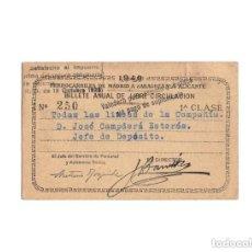Coleccionismo Billetes de transporte: FERROCARRIL. BILLETE ANUAL DE LIBRE CIRCULACIÓN, TODAS LAS LINEAS DE COMPAÑIA, 1940.JEFE DE DEPÓSITO. Lote 171138289