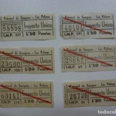 Coleccionismo Billetes de transporte: LOTE DE 6 BILLETES DE PATRONAL DE GUAGUAS. LAS PALMAS. . Lote 171329534