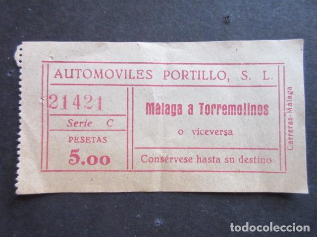 BILLETE MALAGA AUTOMOVILES PORTILLO TORREMOLINOS (Coleccionismo - Billetes de Transporte)