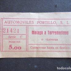 Coleccionismo Billetes de transporte: BILLETE MALAGA AUTOMOVILES PORTILLO TORREMOLINOS. Lote 171618273