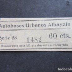 Coleccionismo Billetes de transporte: BILLETE MALAGA EMPRESA URBANOS ALBAYZIN . Lote 171621962