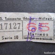 Coleccionismo Billetes de transporte: BILLETE SERVICIO TRANSPORTE URBANO DE MALAGA 65 CENTIMOS CON SOBREGARGA. Lote 171622098