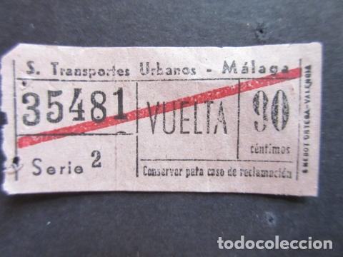 BILLETE SERVICIO TRANSPORTE URBANO DE MALAGA 90 CENTIMOS VUELTA (Coleccionismo - Billetes de Transporte)