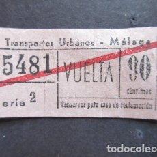 Coleccionismo Billetes de transporte: BILLETE SERVICIO TRANSPORTE URBANO DE MALAGA 90 CENTIMOS VUELTA. Lote 171622212