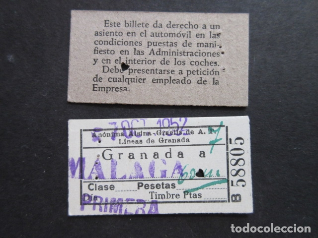 BILLETE ANONIMA ALSINA GRAELLS A. T. GRANADA A MALAGA 1952 PRIMERA (Coleccionismo - Billetes de Transporte)