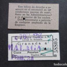 Coleccionismo Billetes de transporte: BILLETE ANONIMA ALSINA GRAELLS A. T. GRANADA A MALAGA 1952 PRIMERA. Lote 171622300
