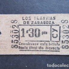 Coleccionismo Billetes de transporte: BILLETE TRANVIAS DE ZARAGOZA. Lote 171622319