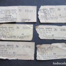 Coleccionismo Billetes de transporte: LOTE 6 BILLETES CAPICUA NUMERO DIFERENTE AUTOBUSES ADEVA MADRID 88288 14641 56665 31113 76167 42424. Lote 171622617