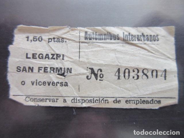 BILLETE MADRID AUTOMNIBUS INTERURBANOS LEGAZPI SAN FERMIN (Coleccionismo - Billetes de Transporte)