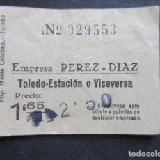 Coleccionismo Billetes de transporte: BILLETE TOLEDO EMPRESA PEREZ DIAZ TOLEDO ESTACION. Lote 171622803