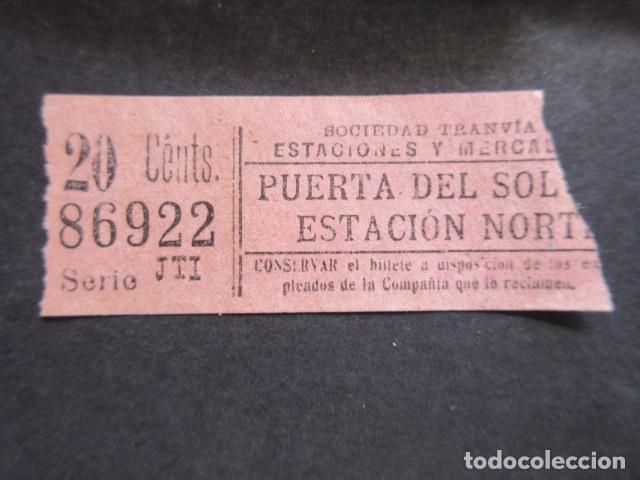 BILLETE SOCIEDAD TRANVIAS ESTACION Y MERCADOS PUERTA DEL SOL ESTACION NORTE (Coleccionismo - Billetes de Transporte)