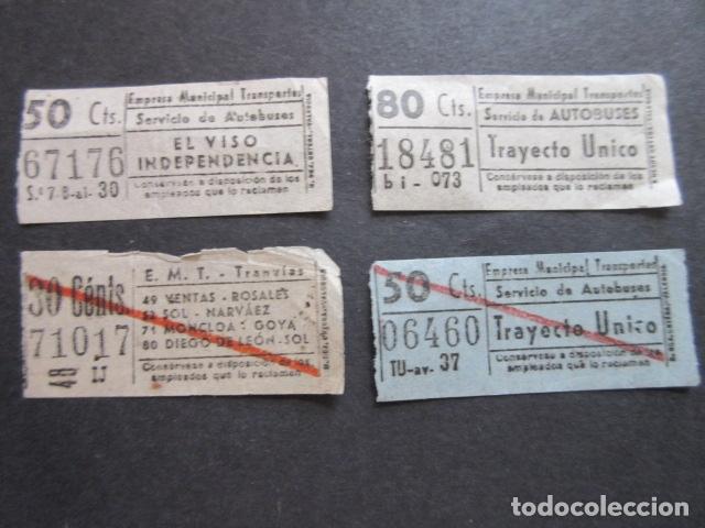 4 BILLETE CAPICUA NUMERO Y BILLETES DIFERENTES TRANVIAS Y AUTOBUSES MADRID 67176 71017 06460 18481 (Coleccionismo - Billetes de Transporte)