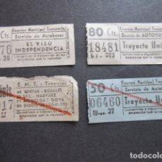 Coleccionismo Billetes de transporte: 4 BILLETE CAPICUA NUMERO Y BILLETES DIFERENTES TRANVIAS Y AUTOBUSES MADRID 67176 71017 06460 18481. Lote 171622963