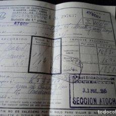Coleccionismo Billetes de transporte: COMPAÑÍA INTERNACIONAL COCHES CAMA ATOCHA 1945. Lote 171730973
