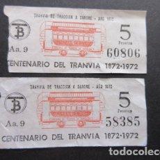 Coleccionismo Billetes de transporte: LOTE 2 BILLETES CAPICUA CENTENARIO DEL TRANVIA EN BARCELONA - 60806 58385. Lote 172061782