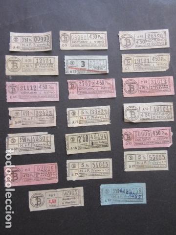 LOTE 20 BILLETES CAPICUA TRANVIAS DE BARCELONA DIFERENTES NUMEROS SERVICIOS NOCTURNOS (Coleccionismo - Billetes de Transporte)