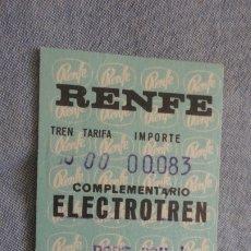 Coleccionismo Billetes de transporte: ANTIGUA BILLETE.RENFE.ELECTROTREN.PORTBOU-BARCELONA 1972. Lote 172457519