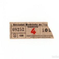 Coleccionismo Billetes de transporte: BILLETE MADRID SOCIEDAD MADRILEÑA TRANVIAS TRAYECTO 4. Lote 172580653