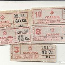 Coleccionismo Billetes de transporte: GRAN METRO BARCELONA.5 BILLETES MODELO 6. Lote 172718194