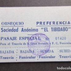 Coleccionismo Billetes de transporte: PASAJE ESPECIAL SOCIEDAD ANONIMA TIBIDABO TRANVIA BLAU AZUL Y FUINICULAR. Lote 172874628