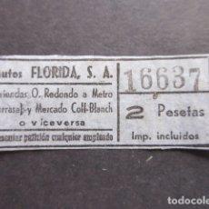 Coleccionismo Billetes de transporte: BILLETE AUTOBUSES FLORIDA. Lote 172874892