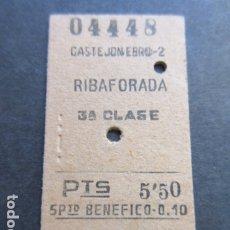 Coleccionismo Billetes de transporte: BILLETE EDMONSON CASTEJON EBRO 2 RIBAFORADA 1953 - RENFE FERROCARRIL. Lote 172875824