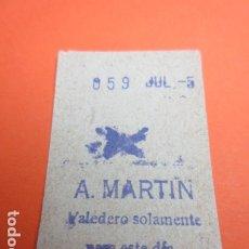 Coleccionismo Billetes de transporte: METRO MADRID PARADA A. MARTIN MODELO ASPA O CRUZ - TRASERA 7 RENGLONES. Lote 173664650