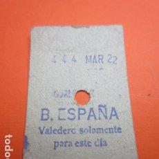 Coleccionismo Billetes de transporte: METRO MADRID CAPICUA 444 PARADA B. ESPAÑA MODELO CUALQUIER TRAYECTO - TRASERA 7 RENGLONES. Lote 173664860