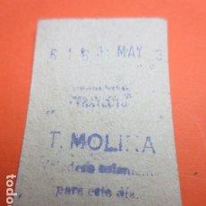 Coleccionismo Billetes de transporte: METRO MADRID CAPICUA 616 PARADA T. MOLINA MODELO CUALQUIER TRAYECTO - TRASERA 7 RENGLONES. Lote 173664942