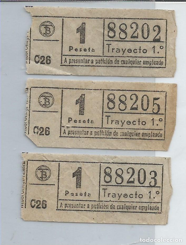 TRIO DE BILLETES DE TRANSPORTE DE VALENCIA ANTIGUOS, CON NUMERACIÓN CASI CONSECUTIVA (Coleccionismo - Billetes de Transporte)