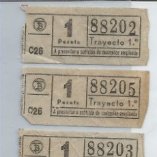 Coleccionismo Billetes de transporte: TRIO DE BILLETES DE TRANSPORTE DE VALENCIA ANTIGUOS, CON NUMERACIÓN CASI CONSECUTIVA. Lote 173812630