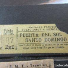 Coleccionismo Billetes de transporte: BILLETE SOCIEDAD TRANVIAS ESTACIONES Y MERCADOS PUERTA DEL SOL SANTO DOMINGO . Lote 173839834