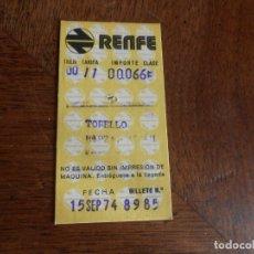 Coleccionismo Billetes de transporte: BILLETE RENFE TORELLÓ /PLAZA CATALUNYA AÑO 1974. Lote 173923695